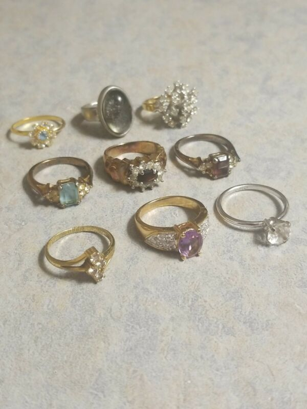 Lot Of 9 Rings Costume Jewelry