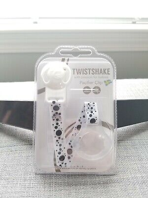 Twistshake Pacifier Clip White with Black Polka Dots 0+ Mos New