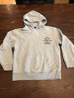 Horses Youth Sweatshirt - Polo Ralph Lauren Youth Hooded Grey Sweatshirt Size L 12-14) Horse RLPC