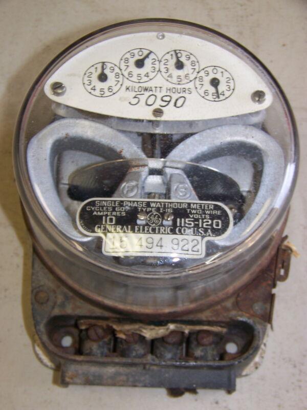 VINTAGE GE GENERAL ELECTRIC SINGLE-PHASE WATTHOUR METER