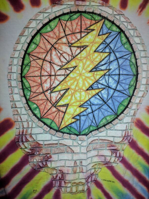 Original Grateful Dead 1994 Summer Tour Steal Your Face Stained Glass L T Shirt