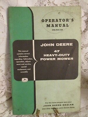 Vintage John Deere Operator's Manual John Deere 47 Heavy-Duty Power Mower