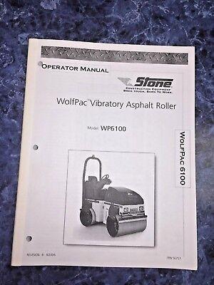 Stone Wolfpac Vibratory Asphalt Roller Operators Manual Wp6100 Toro Multilingual
