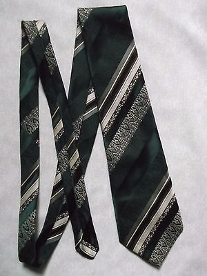 TOOTAL VINTAGE TIE 1970s 1980s MOD MODERNIST CASUAL DARK GREEN BROWN STRIPED