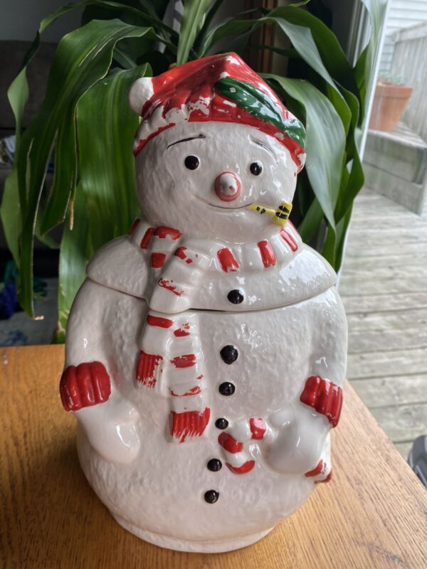Vintage frosty the snowman ceramic cookie jar