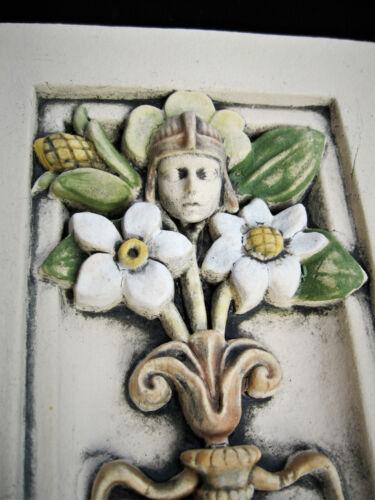 FLORAL ART DECO  GARDEN SPRITE  PLAQUE   ARTS & CRAFTS   ELLISON TILE