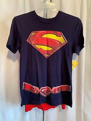 Superman Cape For Men (DC Comics Men's Superman Graphic W/Cape Navy & Red Short Sleeve Tee Shirt)