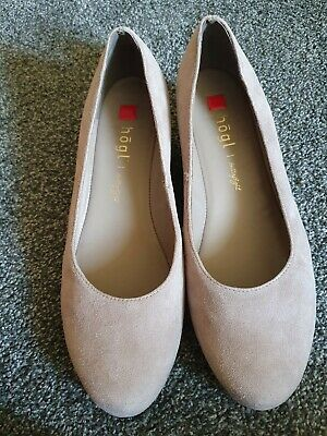 Hogl beige suede wedge shoes, size 6, new