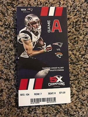 2017 New England Patriots Vs Jacksonville Jaguars Ticket Stub Nfl 8 10