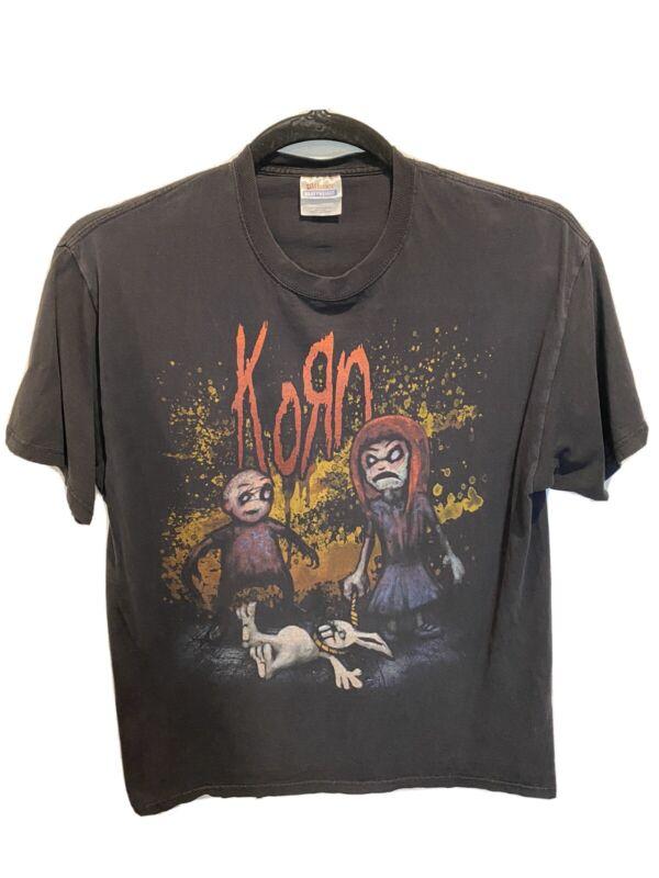 Korn Hanging Bunny Black Rock T Shirt Men Large Band Hanes Heavyweight