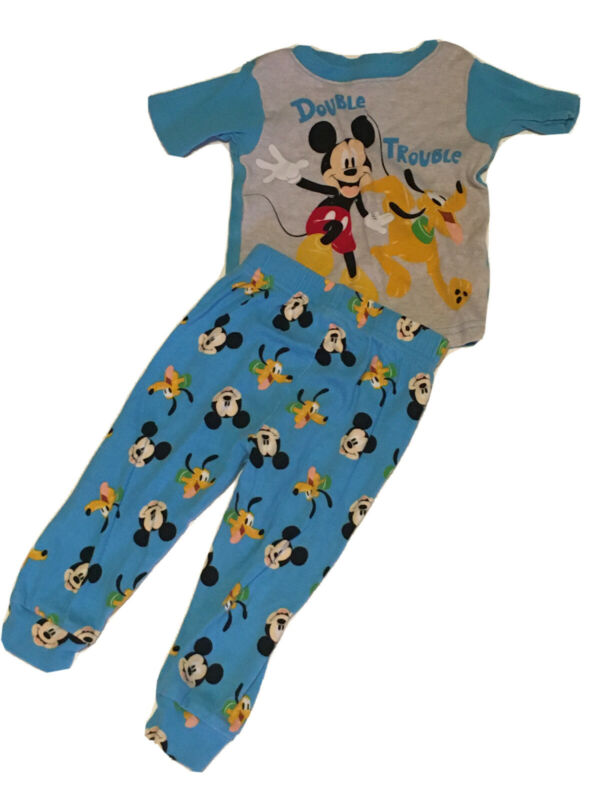 Disney Mickey Mouse And Pluto Toddler boys pajamas 24 Months 2 pc Short Sleeve