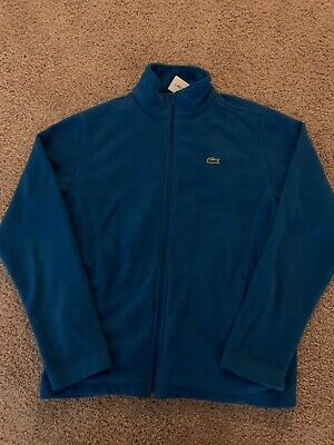 Men's Lacoste Sport Blue Croc Logo Full Zip Fleece Lightweight Jacket Size 7/XL