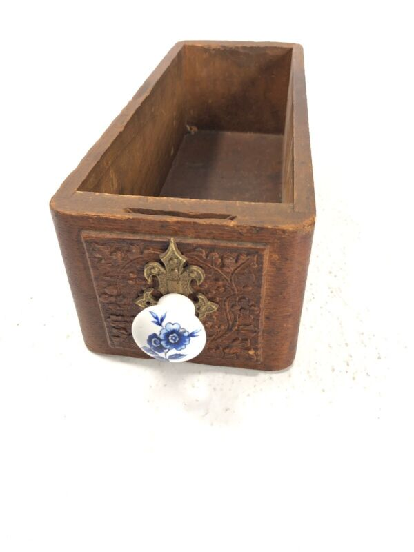 Antique Sewing Machine Oak Wooden Drawers Decorative  Porcelain Knob