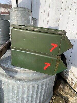 Lot Of 2 Vintage Green Industrial Metal Storage Bin Stackbin Rustic Number 7