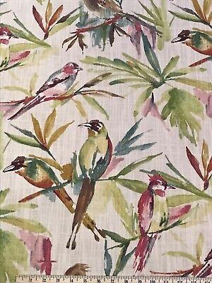 SONGBIRD FLORA Richloom Cotton Print Upholstery Fabric BTY Birds Green Cream Red