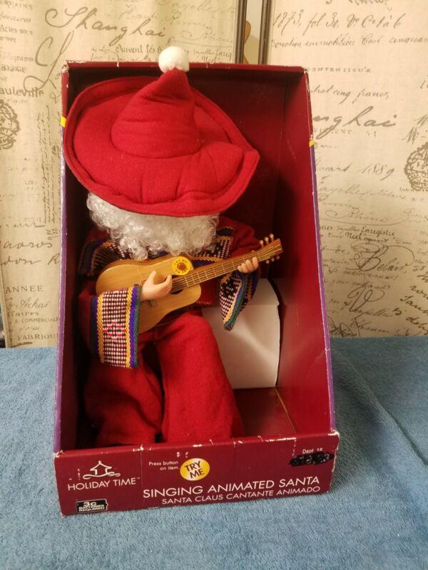 Vintage Holiday Time Singing Animated Santa Claus Cantante Animado