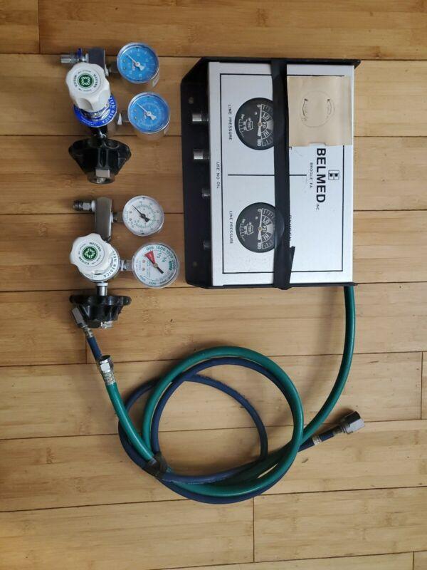 Belmed nitrous oxide oxygen distribution unit with western medica regulators