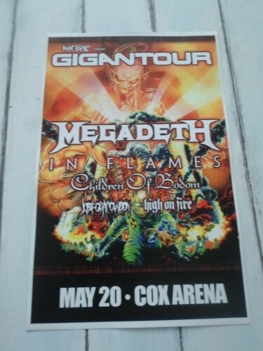 """MEGADEATH Concert Poster IN FLAMES San Diego COX ARENA 11""""x17"""""""