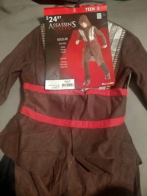 ASSASSIN'S CREED Aguilar TEEN COSTUME 3pc Robe Pants Hood Small NWT