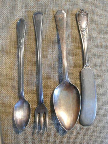 VTG Silver Plate Lot of 6 - Butter Knife Pickle Fork Baby Jelly Demi Spoon Tsp.