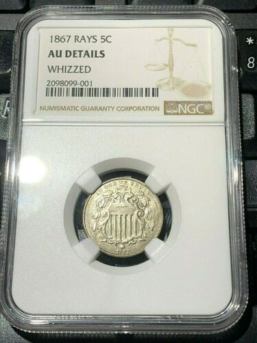 1867 SHIELD NICKEL 5 CENTS with rays NGC GRADED AU DETAILS