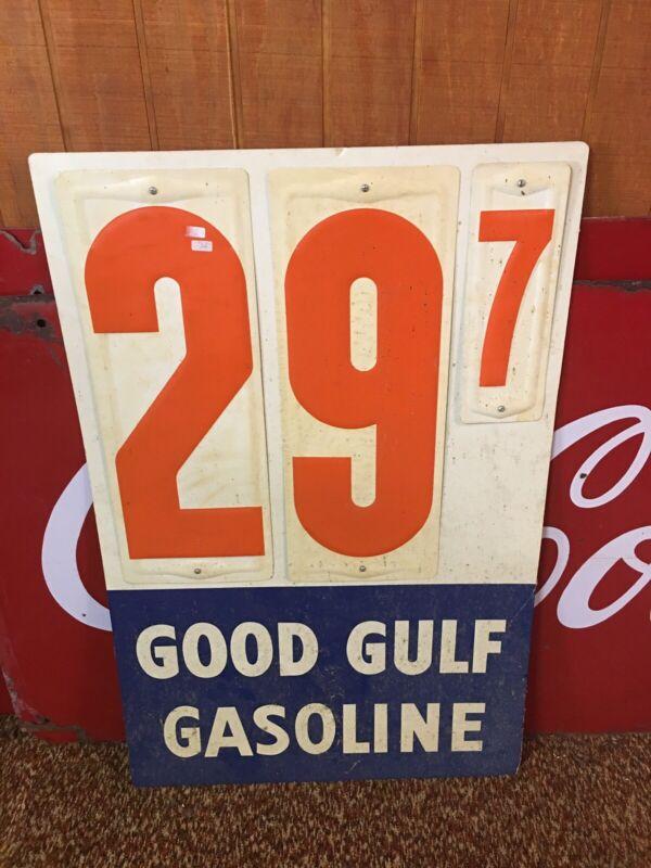 Vintage Metal Gulf Gasoline Price Sign