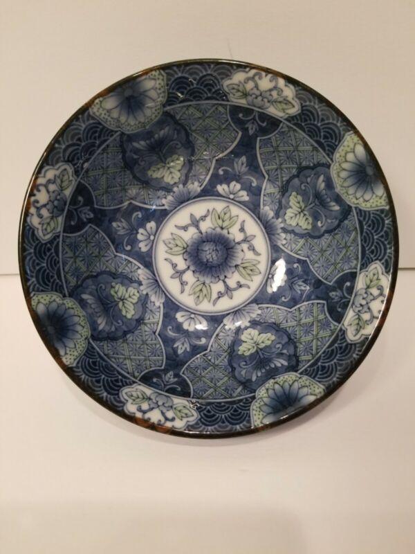 Hijiri Gama Vintage Japanese Bowl Porcelain Floral Pattern Blue and White Signed