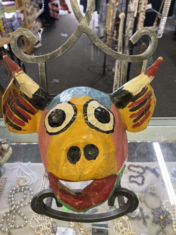 Vtg Mexican Diablo Devil, Pig,  Mask Festival Day Dead Dios Muertos Paper Mache