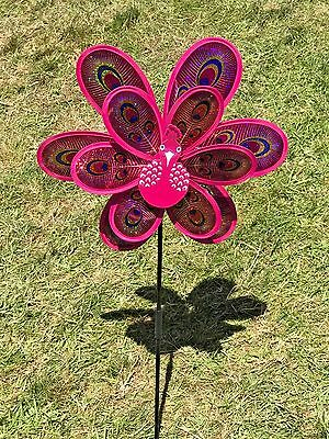Double sparkle peacock wind spinners  pinwheel