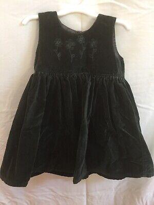 Girls Size 3T The Childrens Place Green Velvet Flower Design Dress