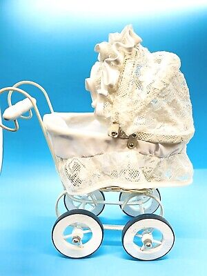 Miniature Victorian White Wicker Pram Hooded Doll Buggy Stroller Baby Carriage