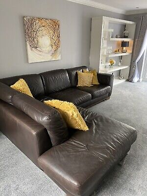 Leather Natuzzi Corner Sofa In Brown