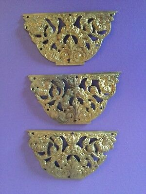 X3 Quality Vintage Cast Brass Plaques . Furniture Garnish. Heavy. Clock