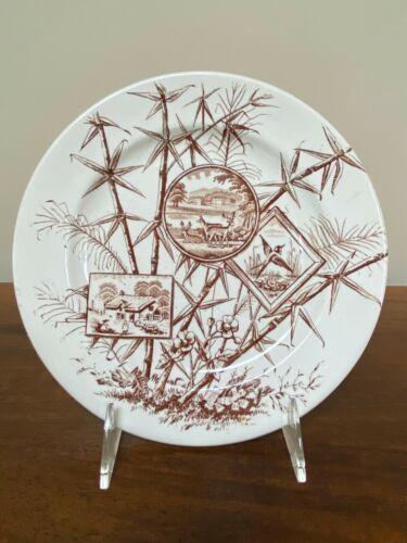 J H Davis CHATSWORTH Brown Aesthetic Transferware Salad Plate c. 1883
