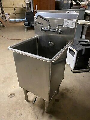 Load King Stainless Steel 21.25 Commercial 1 Comp 21.5 Floor Deep Wash Sink Nsf