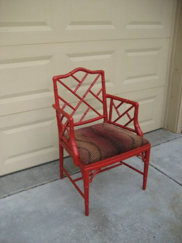 Faux Bamboo Chinese Chippendale Style Armchair by Century Chair Company, 1970s