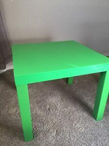 2 green Ikea tables