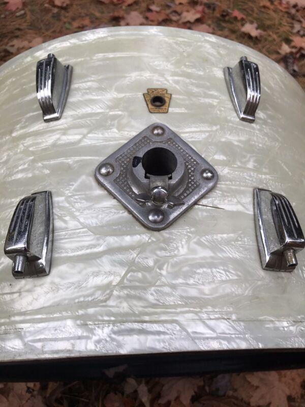 "Vintage Ludwig ""New Yorker"" 12""x22"" WMP Bass Drum White Marine Pearl Pre Serial"