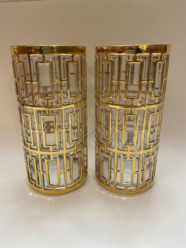 "Set 2 Vintage Imperial Glass Shoji 22k Gold 5.75"" Tumblers Glasses Bar MCM"