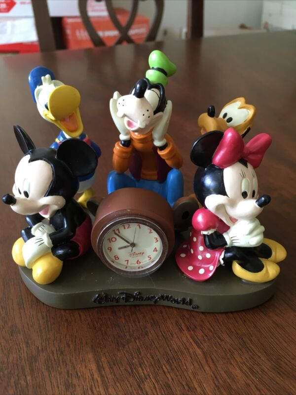 Walt Disney World Desk Clock~Mickey & Friends~EUC~FREE SHIPPING!
