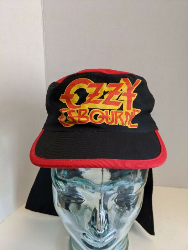 Vintage Ozzy Osbourne Painters Mullet Cap Hat Size M Bats 80s Rippers Red Black