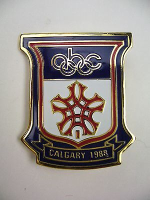 1988 Calgary Olympic Games Pin > abc TV - Shield  for sale  Mount Prospect