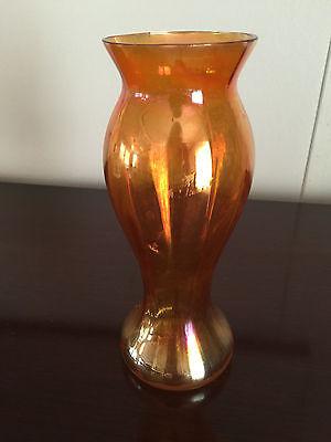 Vintage carnival glass vase, orange marigold iridescent, antique