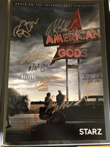 RICKY WHITTLE CRISPIN GLOVER SIGNED AMERICAN GODS PHOTO 12X18 CAST AUTOGRAPH