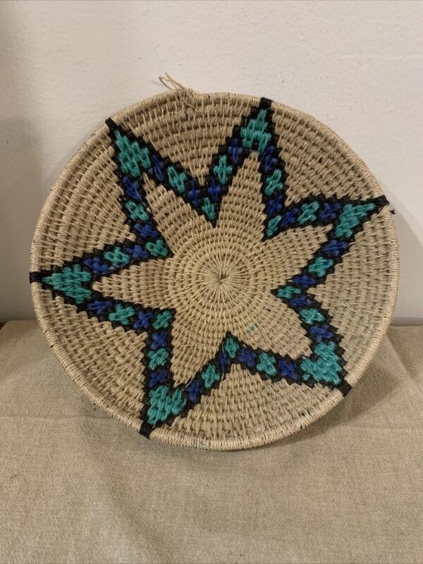 Ghana? hand-woven Bowl Basket 6 Point Star Design Star Of David Blue & Teal