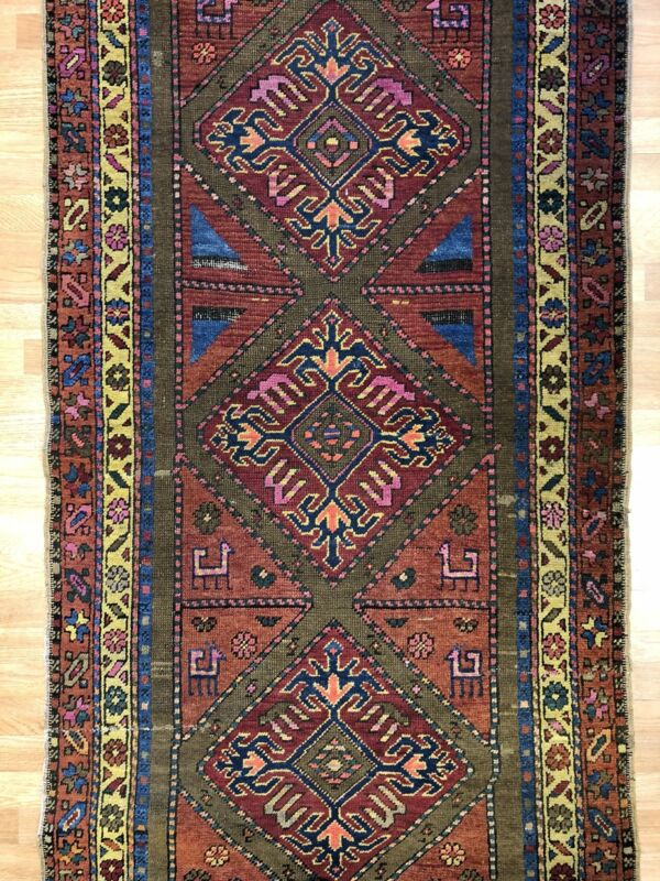 Collectible Caucasian - 1900s Antique Karabagh Rug - Tribal Runner - 3.6 X 10.4