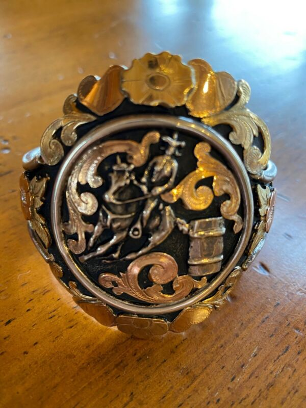 Ladies Bracelet Bob Berg- Tri-Colored Sterling Silver and 10K Gold Cuff Bracelet