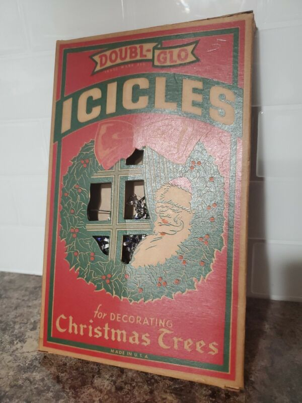 Vintage Double-Glo Fireproof Christmas Icicles Santa Claus Tinsel Decorations