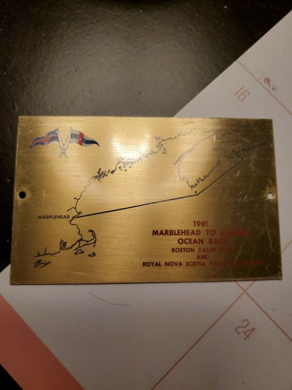 Antique Commemorative 1981 Marblehead to Halifax SAILING Race Plaque Front