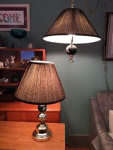 Table lamp and swag lamp set